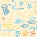 Sealife hand drawn seamless pattern