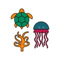 Sealife logo template with background Royalty Free Stock Photography