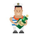Seaman with bottle of rum illustration on white background Royalty Free Stock Photography