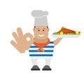 Seaman cook illustration of on white background Stock Photo