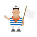 Seaman with white flag illustration of on background Royalty Free Stock Photo