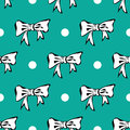 Seamles pattern background with white bows and polka dots Stock Image