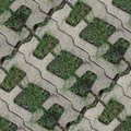 Seamles pattern of concrete road tile on the green grass path Royalty Free Stock Photo