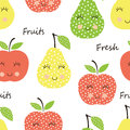 Seamles pattern with cute smiling fruits