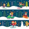 Seamles pattern winter fun with animals
