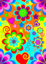 Seamless 70s psychedelic wallpaper Royalty Free Stock Photo