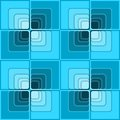 Seamless abstract background with blue checker patterns in minimal design, 3d optical art illusion Royalty Free Stock Photo