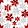 Seamless abstract background with red and gray flower patterns