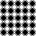 Seamless abstract black and white square grid pattern - halftone vector background design from diagonal rounded squares Royalty Free Stock Photo