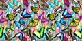 Seamless abstract colorful background with butterfly