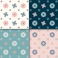 Seamless abstract floral pattern. 4 colors variations, pastel colors