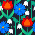 Seamless abstract floral pattern with flower for girl