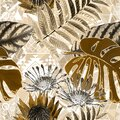 Seamless abstract floral pattern with watercolor effect .Beige, brown background.