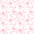 Seamless abstract floral pattern on white background Stock Photography