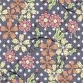 Seamless abstract flowers pattern gray specks background stylish Stock Image