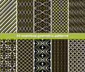 Seamless abstract geometric contrasting patterns set of different in black white and green colors beautiful prints vector Stock Photo