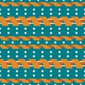 Seamless geometric pattern with serpentine and polka dot Royalty Free Stock Photo
