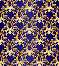 Seamless Abstract Golden Floral Pattern On Dark Violet Background. Exclusive Decoration Suitable for textile, fabric and packaging Royalty Free Stock Photo