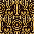 Seamless Abstract Golden Pattern in Techno Style Royalty Free Stock Photo