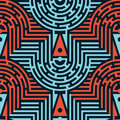 Seamless Abstract Maze Pattern in Blue and Red Colors Royalty Free Stock Photo