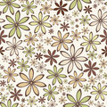 Seamless abstract pattern with beige and green flowers. Vector illustration. Royalty Free Stock Photo