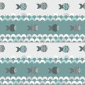 Seamless abstract pattern blue waves and fish vector texture Royalty Free Stock Images