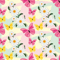 Seamless abstract pattern with chamomiles and butt butterflies is presented Royalty Free Stock Images