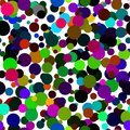 Seamless abstract pattern of circles of all colors of the rainbow.