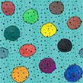 Seamless abstract pattern with circles gouache and acrylic on a striped background