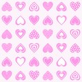 Seamless abstract pattern. Colorful print composed of pink decorative hearts on light rose background.