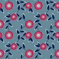 Seamless abstract pattern with flowers ornament on light blue background Royalty Free Stock Photo