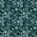 Seamless abstract Pattern with Flowers - white Ornament on green Background
