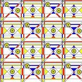 Seamless abstract pattern. Geometric print composed of blue, red, yellow polygon and triangle and black lines on white background.