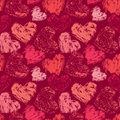 Seamless abstract pattern with grunge colorful hearts on red bac Royalty Free Stock Photo