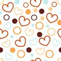 seamless abstract pattern with heart and circle, cute wallpaper on the white background for textile printing or advertising
