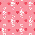 Seamless abstract pattern with hearts and leaves on pink background Royalty Free Stock Photography