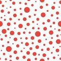 Seamless abstract pattern of little and big red circles and red dots on white background. Kaleidoscope Royalty Free Stock Photo