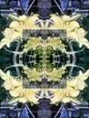 Seamless abstract pattern of multicolored floral elements.