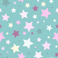 Seamless abstract pattern with stars of different size and color on blue background.
