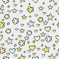 Seamless abstract pattern with stars and hearts texture doodle Stock Image