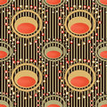 Seamless abstract pattern with unusual elements on striped