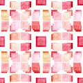 Seamless Abstract Pattern with Watercolor Pink Squares Royalty Free Stock Photo