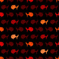 Seamless abstract pattern wits red and orage fish vector geometric background Stock Photography