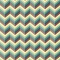 Seamless abstract retro pattern. Geometric zig zag print composed of zigzag lines blue, yellow, brown colors