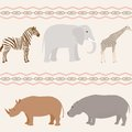 Seamless african animals pattern with on wavy background Royalty Free Stock Photos