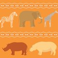 Seamless african pattern with animals and stripy ornament Stock Photo