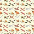Seamless airplane pattern Stock Photography