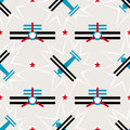 Seamless airplane pattern in constructivism soviet style. Vector vintage 20s geometric ornament Royalty Free Stock Photo