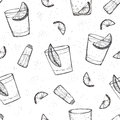 Seamless alcohol drinks vector pattern. Sketched tequila with lime and salt Royalty Free Stock Photo