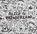 Seamless alice in wonderland pattern cartoon vector illustration Stock Image
